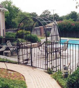 iron trellis swimming pool entrance