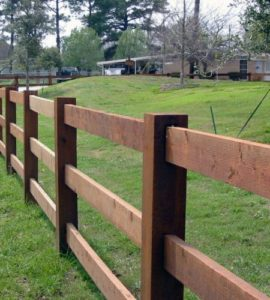 wooden ranch rail fence